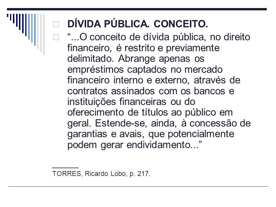 DÍVIDA PÚBLICA. CONCEITO....O conceito de dívida pública, no direito financeiro, é restrito e previamente delimitado. Abrange apenas os empréstimos ca