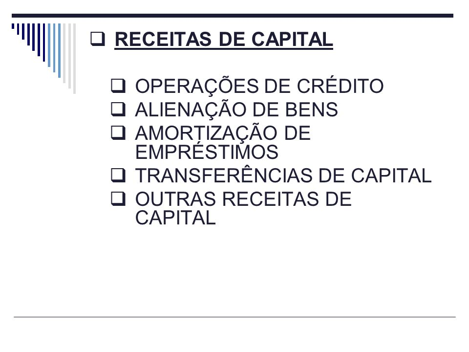 RECEITAS DE CAPITAL OPERAÇÕES DE CRÉDITO ALIENAÇÃO DE BENS AMORTIZAÇÃO DE EMPRÉSTIMOS TRANSFERÊNCIAS DE CAPITAL OUTRAS RECEITAS DE CAPITAL