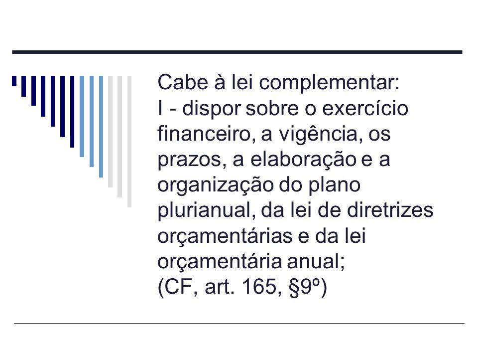 Cabe à lei complementar: I - dispor sobre o exercício financeiro, a vigência, os prazos, a elaboração e a organização do plano plurianual, da lei de d