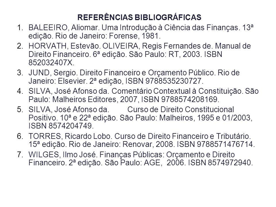 REFERÊNCIAS BIBLIOGRÁFICAS 1.BALEEIRO, Aliomar. Uma Introdução à Ciência das Finanças. 13ª edição. Rio de Janeiro: Forense, 1981. 2.HORVATH, Estevão.