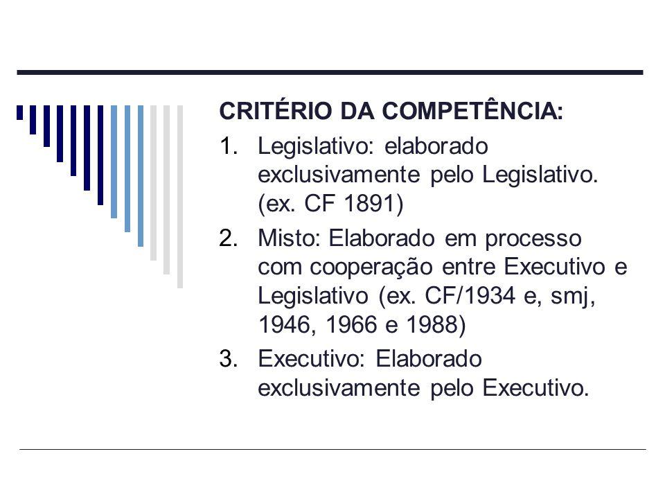 CRITÉRIO DA COMPETÊNCIA: 1.Legislativo: elaborado exclusivamente pelo Legislativo. (ex. CF 1891) 2.Misto: Elaborado em processo com cooperação entre E