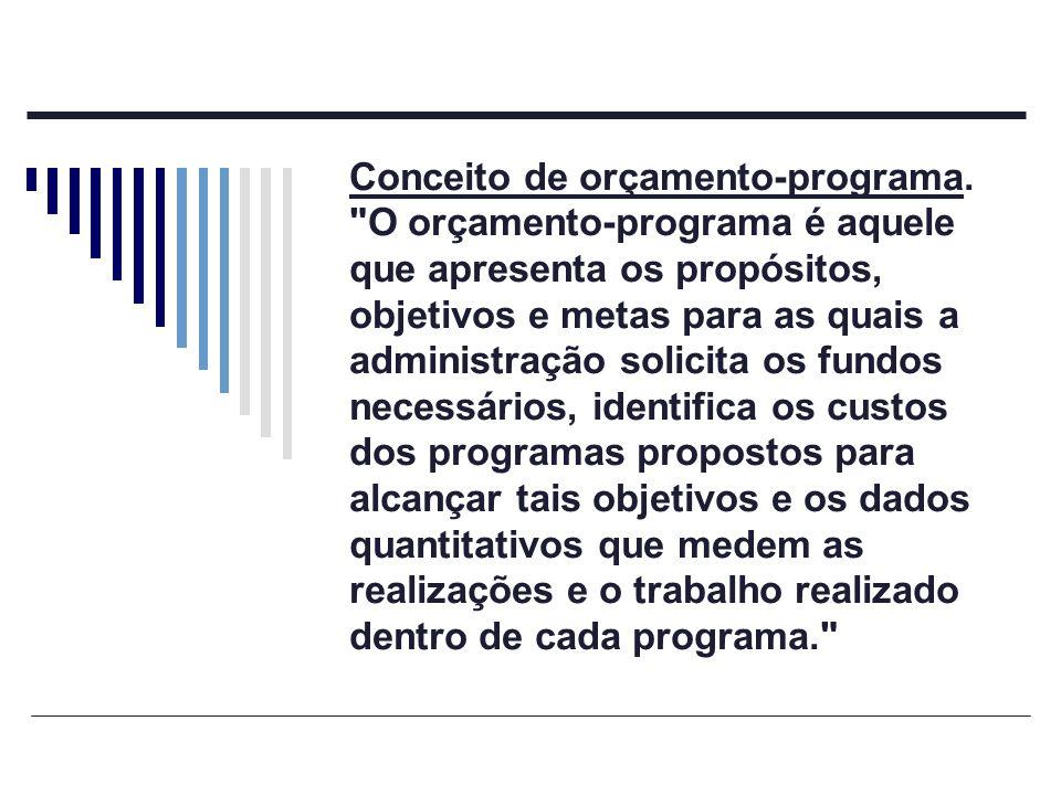 Conceito de orçamento-programa.
