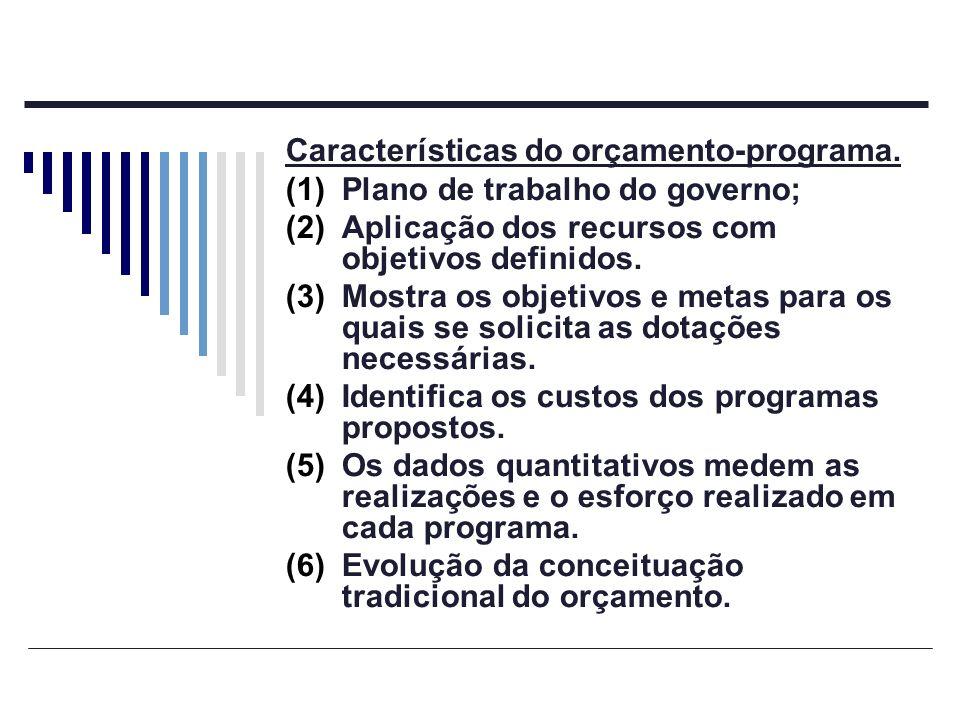 Características do orçamento-programa. (1)Plano de trabalho do governo; (2)Aplicação dos recursos com objetivos definidos. (3)Mostra os objetivos e me