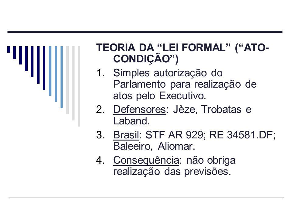 TEORIA DA LEI FORMAL (ATO- CONDIÇÃO) 1.Simples autorização do Parlamento para realização de atos pelo Executivo. 2.Defensores: Jèze, Trobatas e Laband