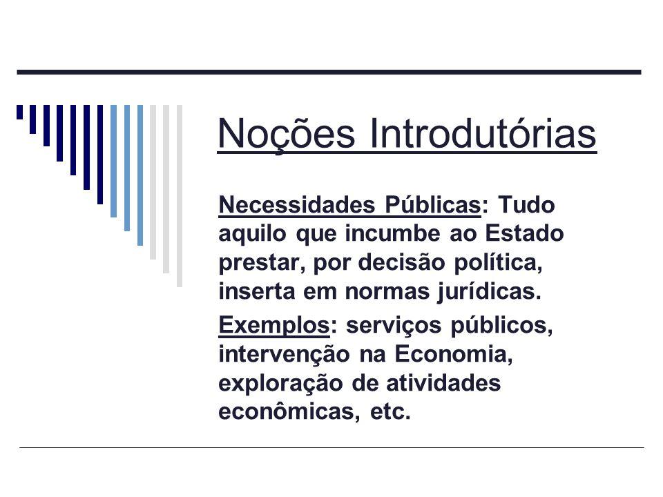 Noções Introdutórias Necessidades Públicas: Tudo aquilo que incumbe ao Estado prestar, por decisão política, inserta em normas jurídicas. Exemplos: se