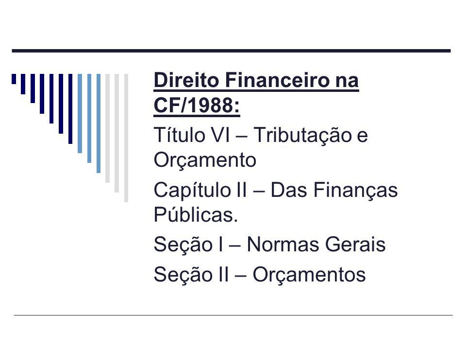 Direito Financeiro na CF/1988: Título VI – Tributação e Orçamento Capítulo II – Das Finanças Públicas. Seção I – Normas Gerais Seção II – Orçamentos