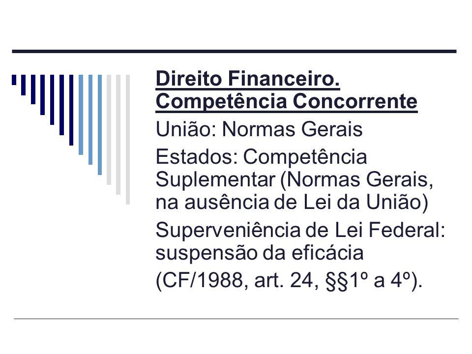 Direito Financeiro. Competência Concorrente União: Normas Gerais Estados: Competência Suplementar (Normas Gerais, na ausência de Lei da União) Superve