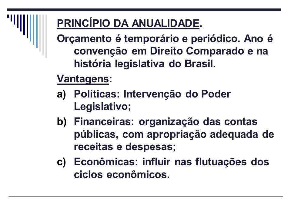 PRINCÍPIO DA ANUALIDADE. Orçamento é temporário e periódico. Ano é convenção em Direito Comparado e na história legislativa do Brasil. Vantagens: a)Po