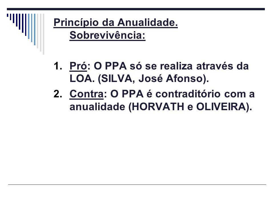 Princípio da Anualidade. Sobrevivência: 1.Pró: O PPA só se realiza através da LOA. (SILVA, José Afonso). 2.Contra: O PPA é contraditório com a anualid