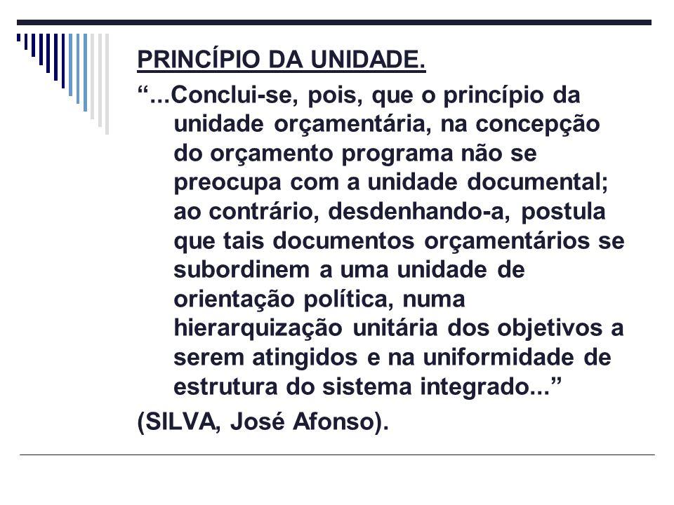 PRINCÍPIO DA UNIDADE....Conclui-se, pois, que o princípio da unidade orçamentária, na concepção do orçamento programa não se preocupa com a unidade do