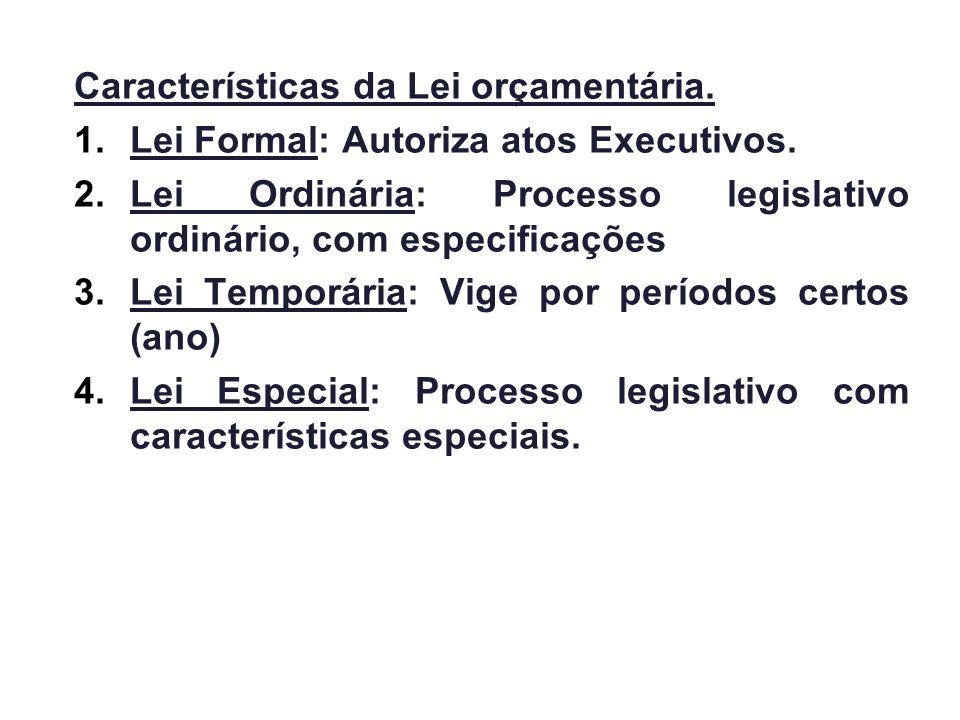Características da Lei orçamentária. 1.Lei Formal: Autoriza atos Executivos. 2.Lei Ordinária: Processo legislativo ordinário, com especificações 3.Lei