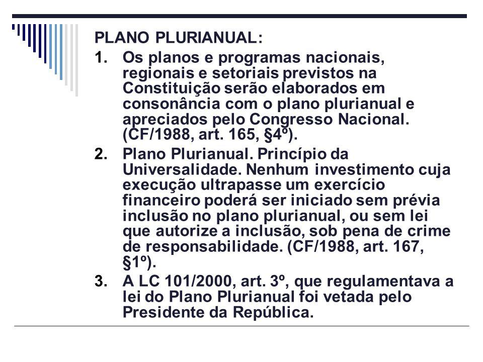 PLANO PLURIANUAL: 1.Os planos e programas nacionais, regionais e setoriais previstos na Constituição serão elaborados em consonância com o plano pluri