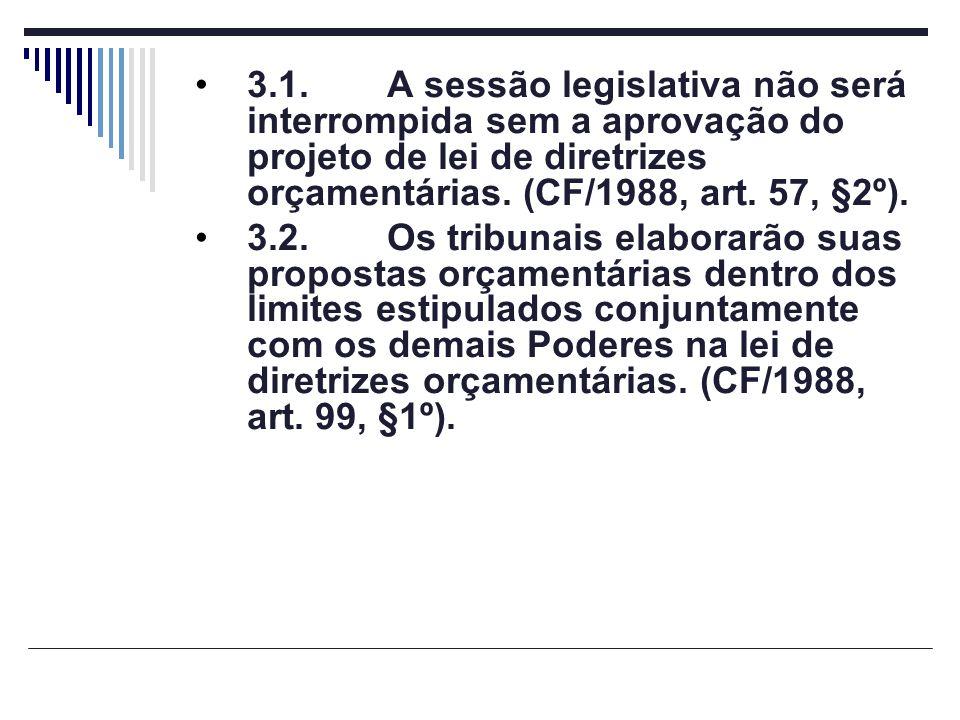 3.1.A sessão legislativa não será interrompida sem a aprovação do projeto de lei de diretrizes orçamentárias. (CF/1988, art. 57, §2º). 3.2.Os tribunai