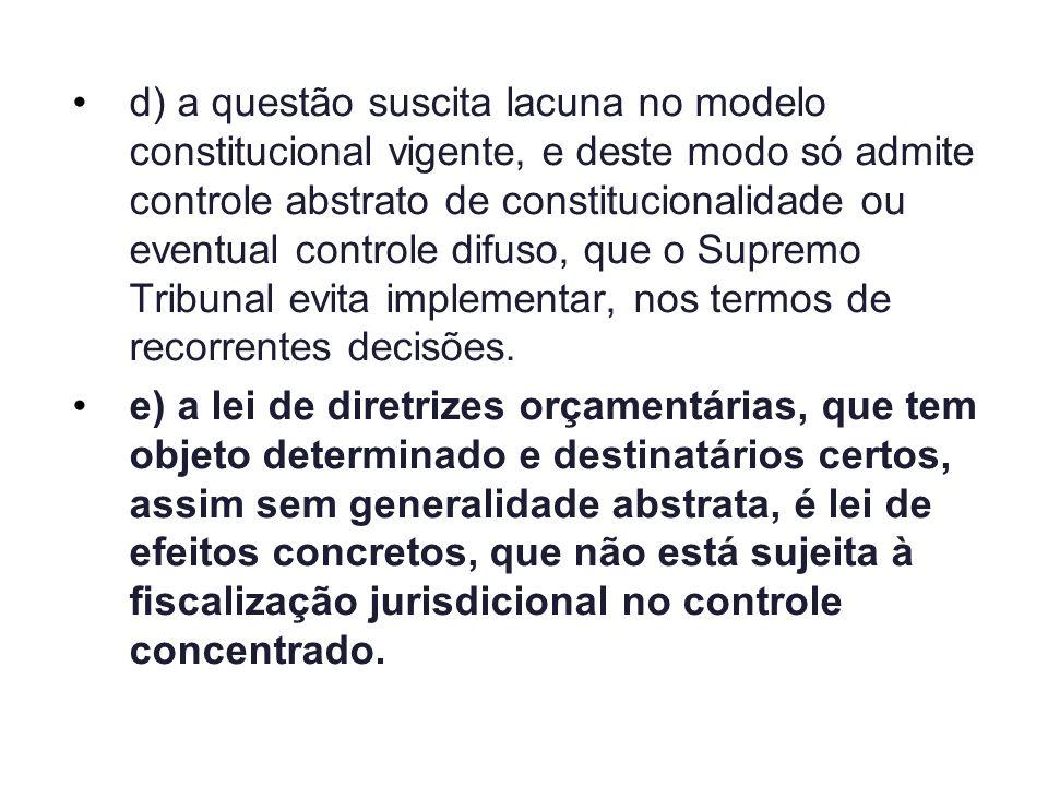 d)a questão suscita lacuna no modelo constitucional vigente, e deste modo só admite controle abstrato de constitucionalidade ou eventual controle difu