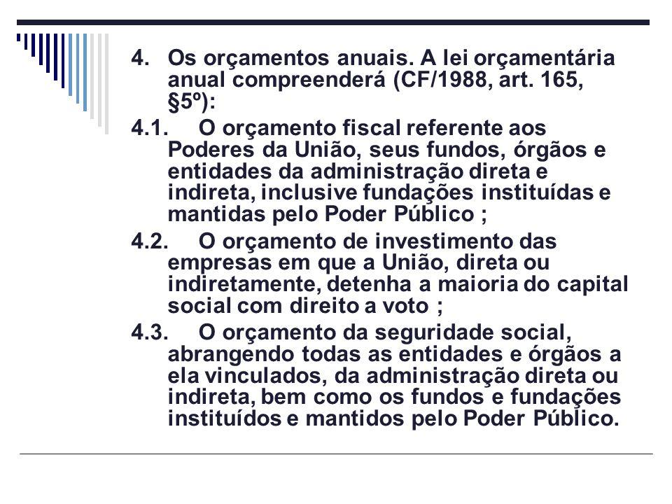 4.Os orçamentos anuais. A lei orçamentária anual compreenderá (CF/1988, art. 165, §5º): 4.1.O orçamento fiscal referente aos Poderes da União, seus fu