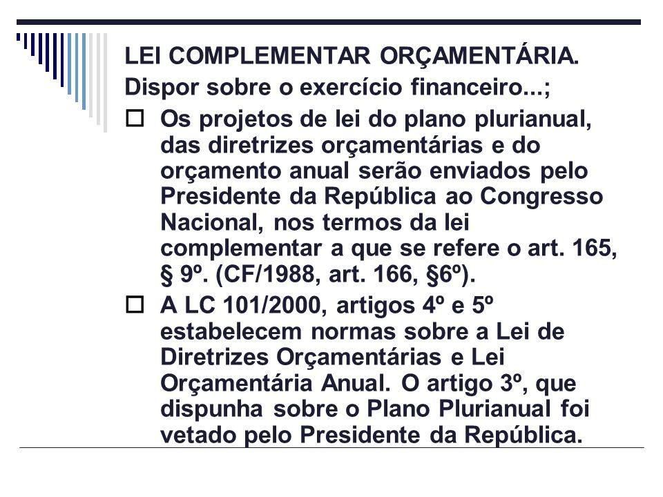 LEI COMPLEMENTAR ORÇAMENTÁRIA. Dispor sobre o exercício financeiro...; Os projetos de lei do plano plurianual, das diretrizes orçamentárias e do orçam