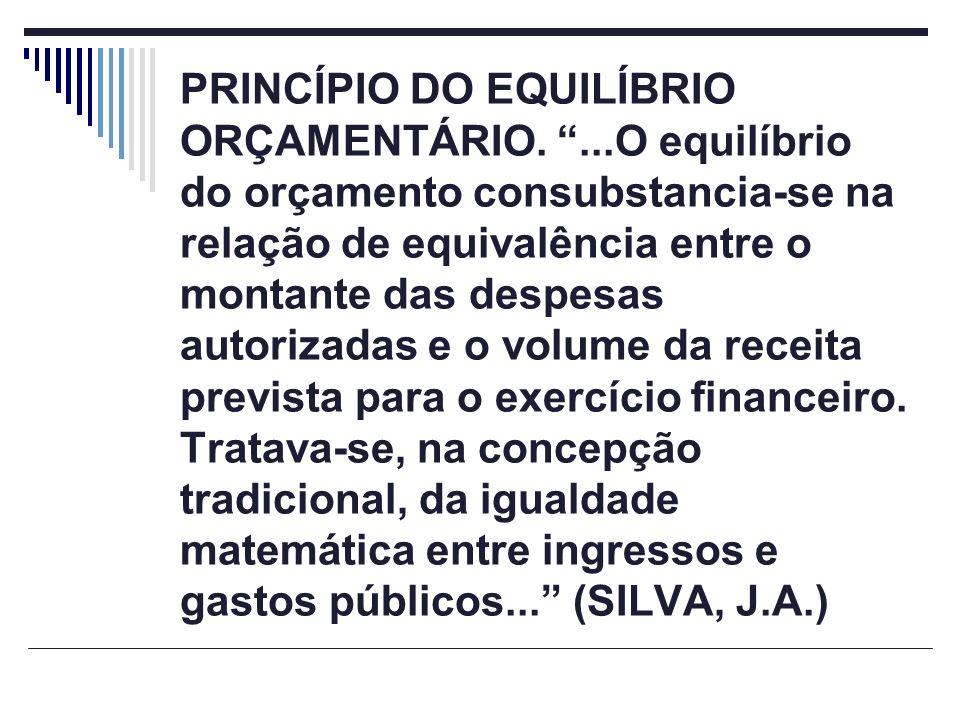 PRINCÍPIO DO EQUILÍBRIO ORÇAMENTÁRIO....O equilíbrio do orçamento consubstancia-se na relação de equivalência entre o montante das despesas autorizada