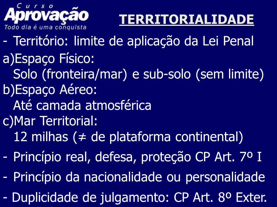 TERRITORIALIDADE -Território: limite de aplicação da Lei Penal a)Espaço Físico: Solo (fronteira/mar) e sub-solo (sem limite) b)Espaço Aéreo: Até camad