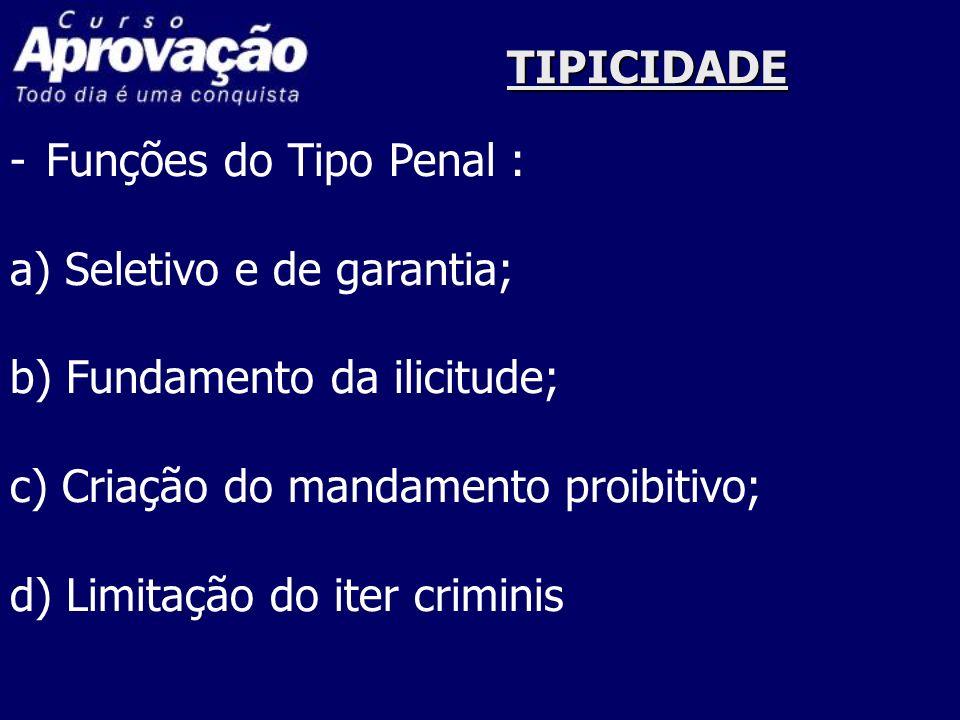 TIPICIDADE -Funções do Tipo Penal : a) Seletivo e de garantia; b) Fundamento da ilicitude; c) Criação do mandamento proibitivo; d) Limitação do iter c