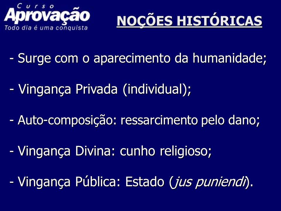 NOÇÕES HISTÓRICAS - Surge com o aparecimento da humanidade ; - Vingança Privada (individual); - Auto-composição: ressarcimento pelo dano ; - Vingança