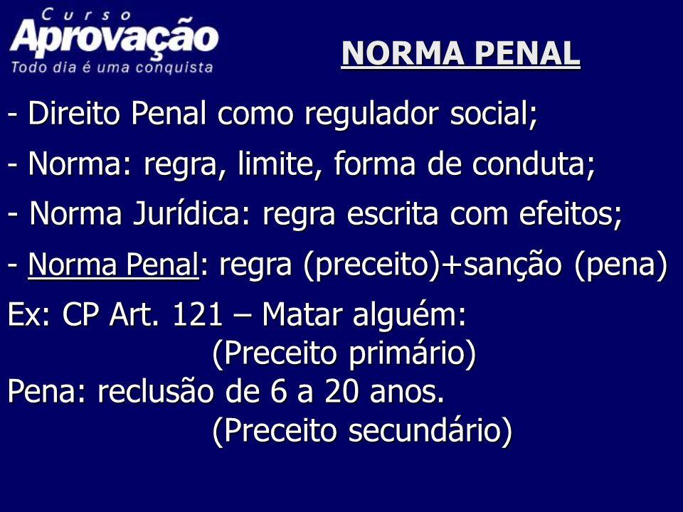 NORMA PENAL - Direito Penal como regulador social; - Norma: regra, limite, forma de conduta; - Norma Jurídica: regra escrita com efeitos; - Norma Pena