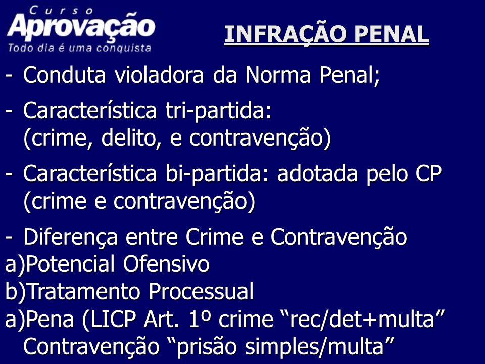 INFRAÇÃO PENAL -Conduta violadora da Norma Penal; -Característica tri-partida: (crime, delito, e contravenção) -Característica bi-partida: adotada pel