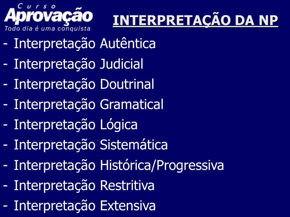 INTERPRETAÇÃO DA NP -Interpretação Autêntica -Interpretação Judicial -Interpretação Doutrinal -Interpretação Gramatical -Interpretação Lógica -Interpr