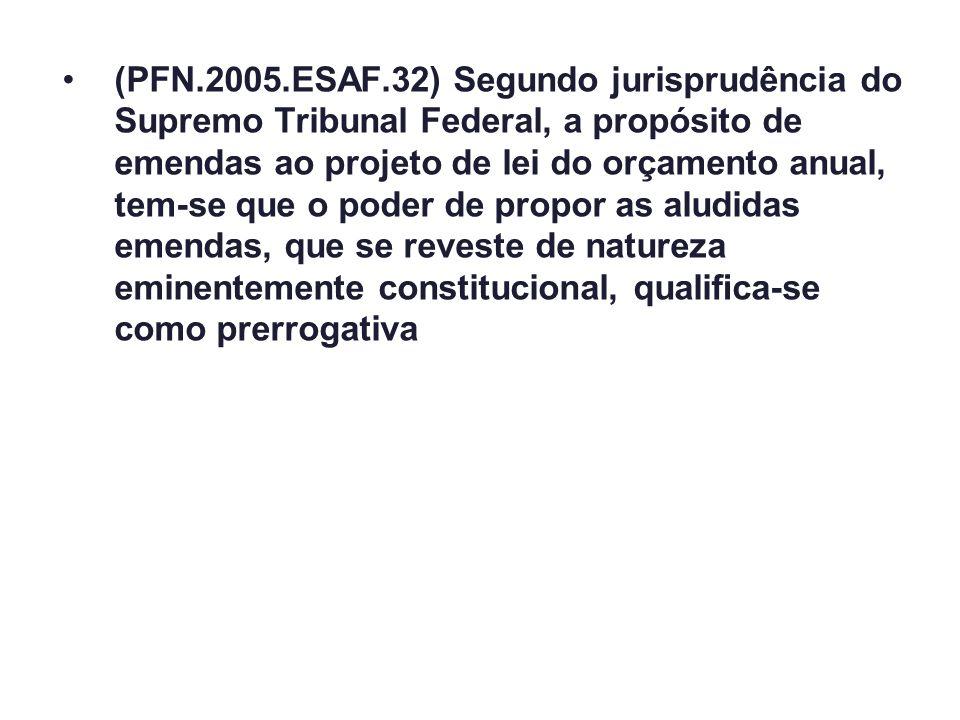 (PFN.2005.ESAF.32) Segundo jurisprudência do Supremo Tribunal Federal, a propósito de emendas ao projeto de lei do orçamento anual, tem-se que o poder