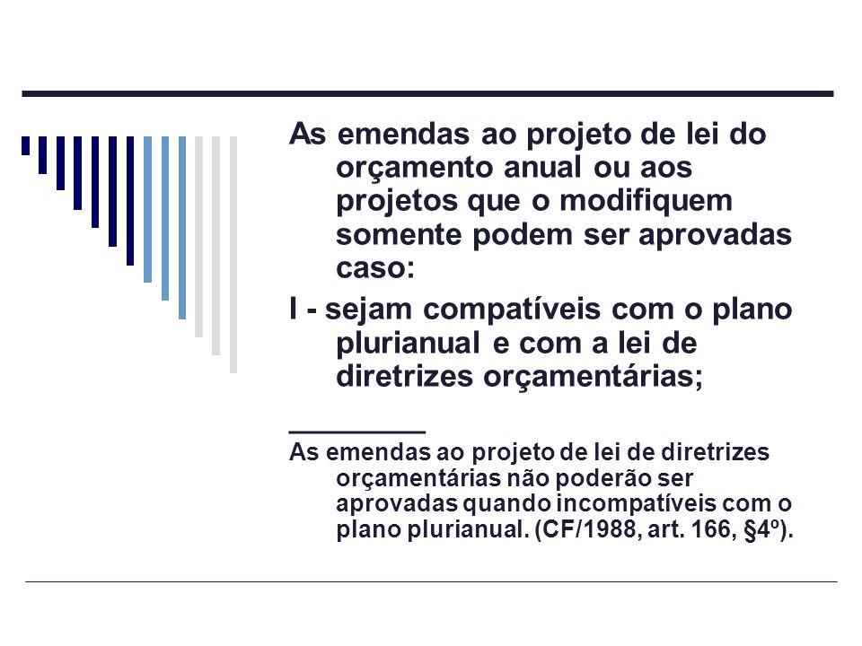 As emendas ao projeto de lei do orçamento anual ou aos projetos que o modifiquem somente podem ser aprovadas caso: I - sejam compatíveis com o plano p