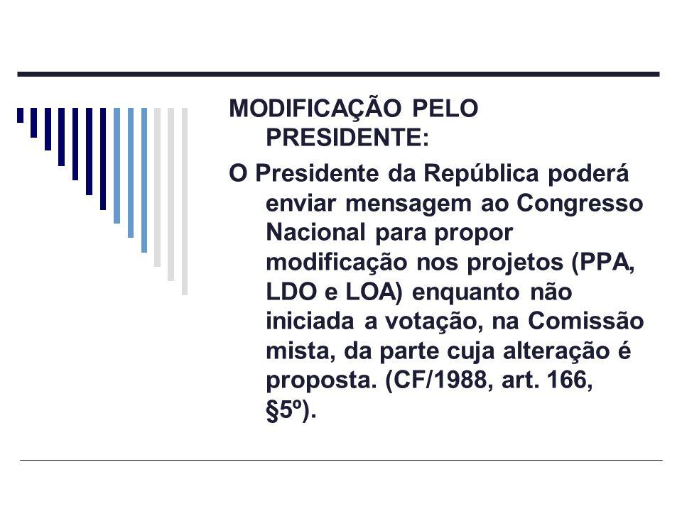 MODIFICAÇÃO PELO PRESIDENTE: O Presidente da República poderá enviar mensagem ao Congresso Nacional para propor modificação nos projetos (PPA, LDO e L