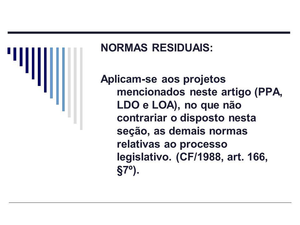 NORMAS RESIDUAIS: Aplicam-se aos projetos mencionados neste artigo (PPA, LDO e LOA), no que não contrariar o disposto nesta seção, as demais normas re