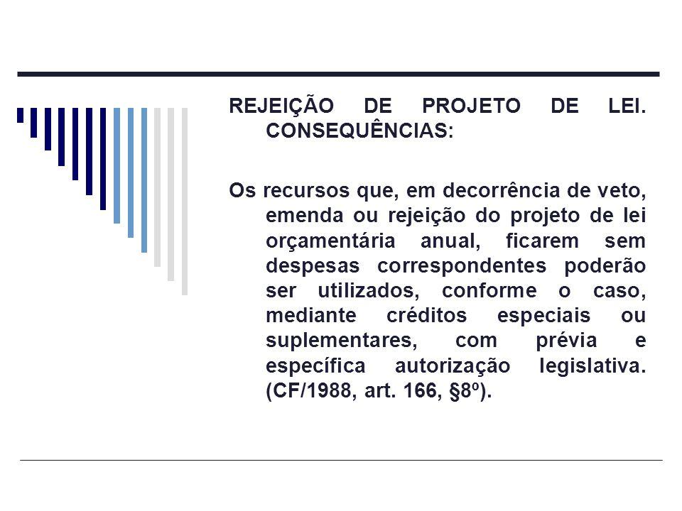 REJEIÇÃO DE PROJETO DE LEI. CONSEQUÊNCIAS: Os recursos que, em decorrência de veto, emenda ou rejeição do projeto de lei orçamentária anual, ficarem s