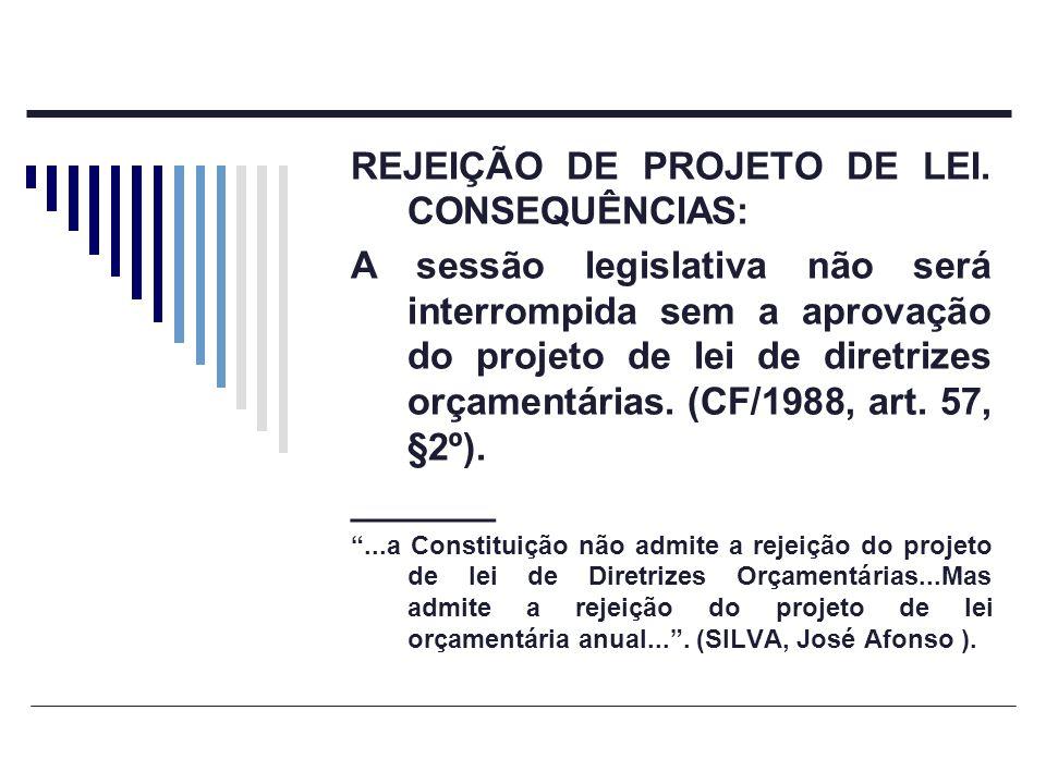 REJEIÇÃO DE PROJETO DE LEI. CONSEQUÊNCIAS: A sessão legislativa não será interrompida sem a aprovação do projeto de lei de diretrizes orçamentárias. (