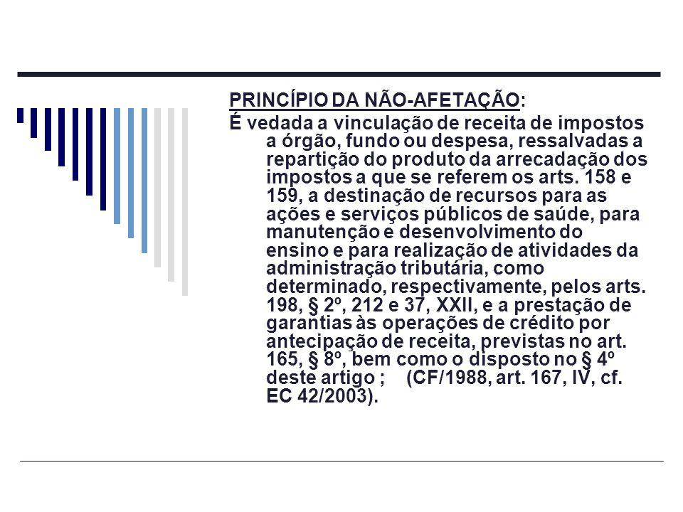PRINCÍPIO DA NÃO-AFETAÇÃO: É permitida a vinculação de receitas próprias geradas pelos impostos a que se referem os arts.