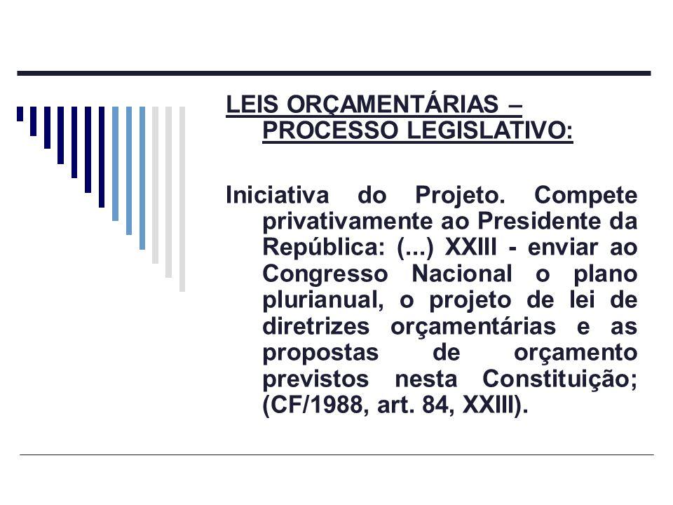 LEIS ORÇAMENTÁRIAS – PROCESSO LEGISLATIVO: Iniciativa do Projeto. Compete privativamente ao Presidente da República: (...) XXIII - enviar ao Congresso
