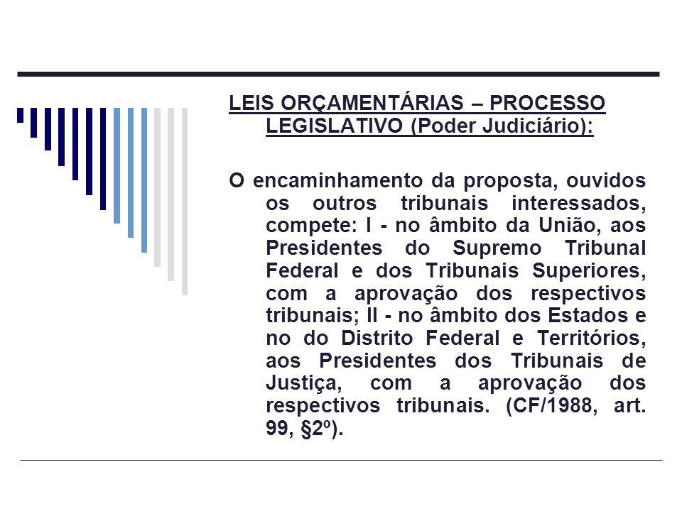 LEIS ORÇAMENTÁRIAS – PROCESSO LEGISLATIVO (Poder Judiciário): O encaminhamento da proposta, ouvidos os outros tribunais interessados, compete: I - no