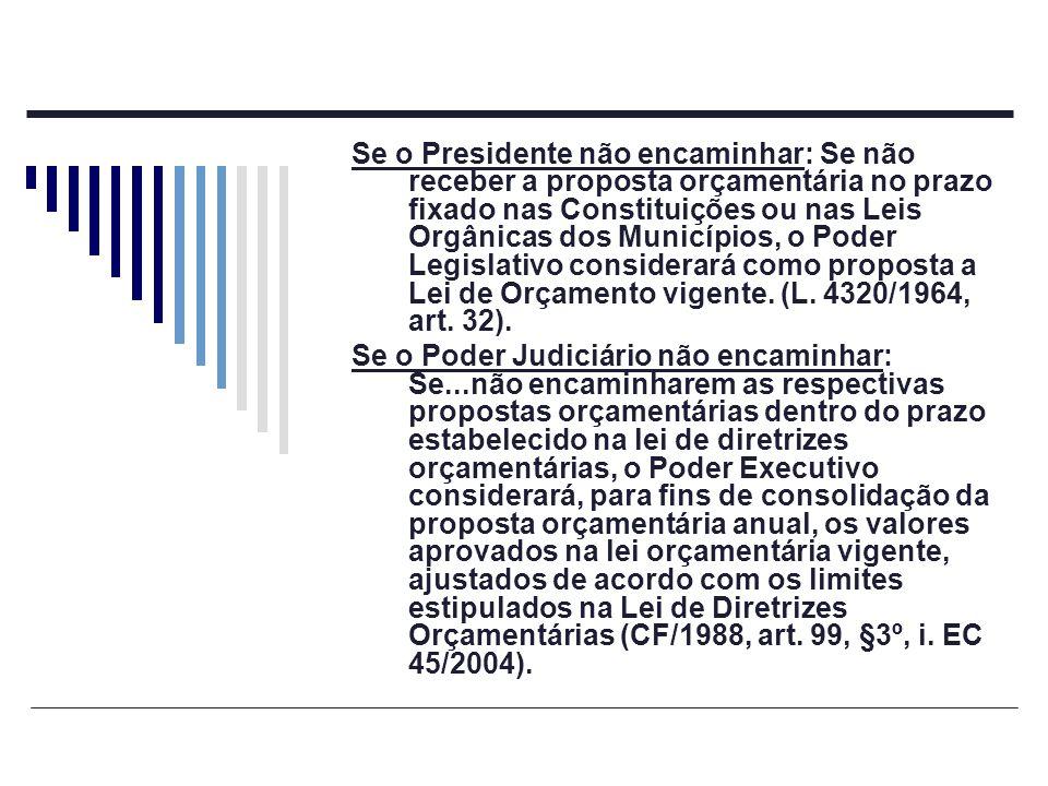 Se o Presidente não encaminhar: Se não receber a proposta orçamentária no prazo fixado nas Constituições ou nas Leis Orgânicas dos Municípios, o Poder