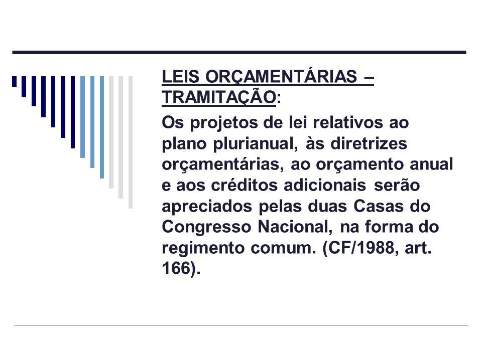 LEIS ORÇAMENTÁRIAS – TRAMITAÇÃO: Os projetos de lei relativos ao plano plurianual, às diretrizes orçamentárias, ao orçamento anual e aos créditos adic