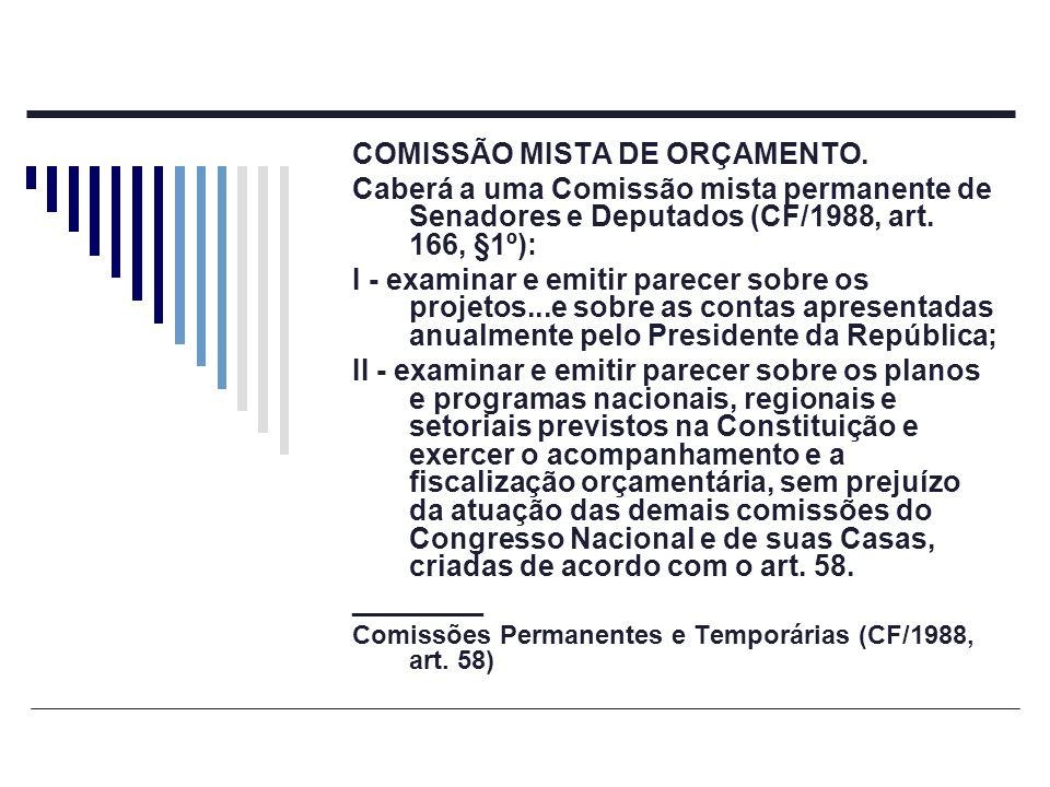 COMISSÃO MISTA DE ORÇAMENTO. Caberá a uma Comissão mista permanente de Senadores e Deputados (CF/1988, art. 166, §1º): I - examinar e emitir parecer s