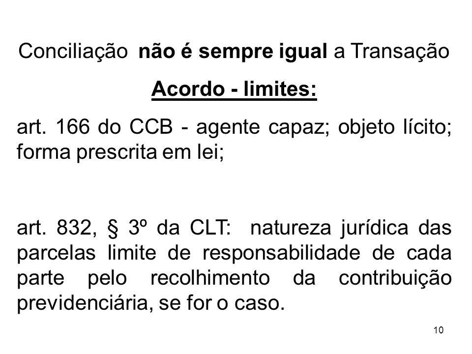 10 Conciliação não é sempre igual a Transação Acordo - limites: art. 166 do CCB - agente capaz; objeto lícito; forma prescrita em lei; art. 832, § 3º