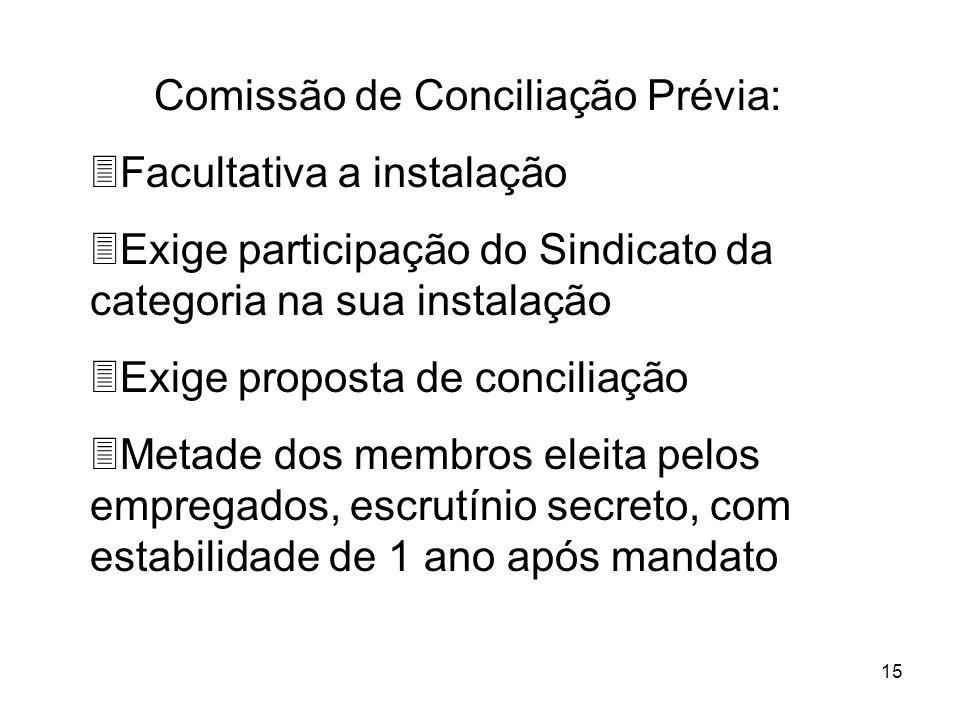 15 Comissão de Conciliação Prévia: 3Facultativa a instalação 3Exige participação do Sindicato da categoria na sua instalação 3Exige proposta de concil