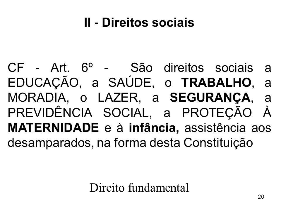 20 II - Direitos sociais CF - Art. 6º - São direitos sociais a EDUCAÇÃO, a SAÚDE, o TRABALHO, a MORADIA, o LAZER, a SEGURANÇA, a PREVIDÊNCIA SOCIAL, a