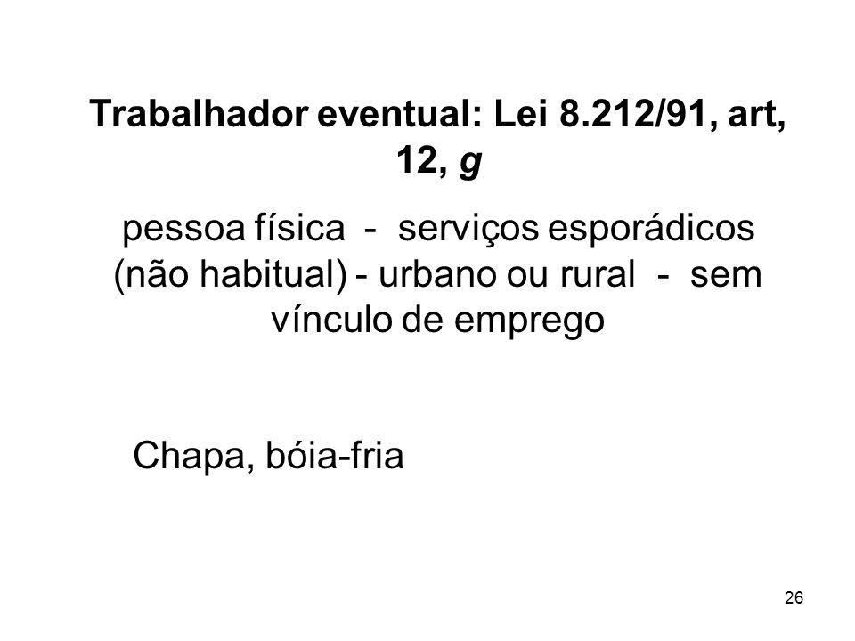 26 Trabalhador eventual: Lei 8.212/91, art, 12, g pessoa física - serviços esporádicos (não habitual) - urbano ou rural - sem vínculo de emprego Chapa