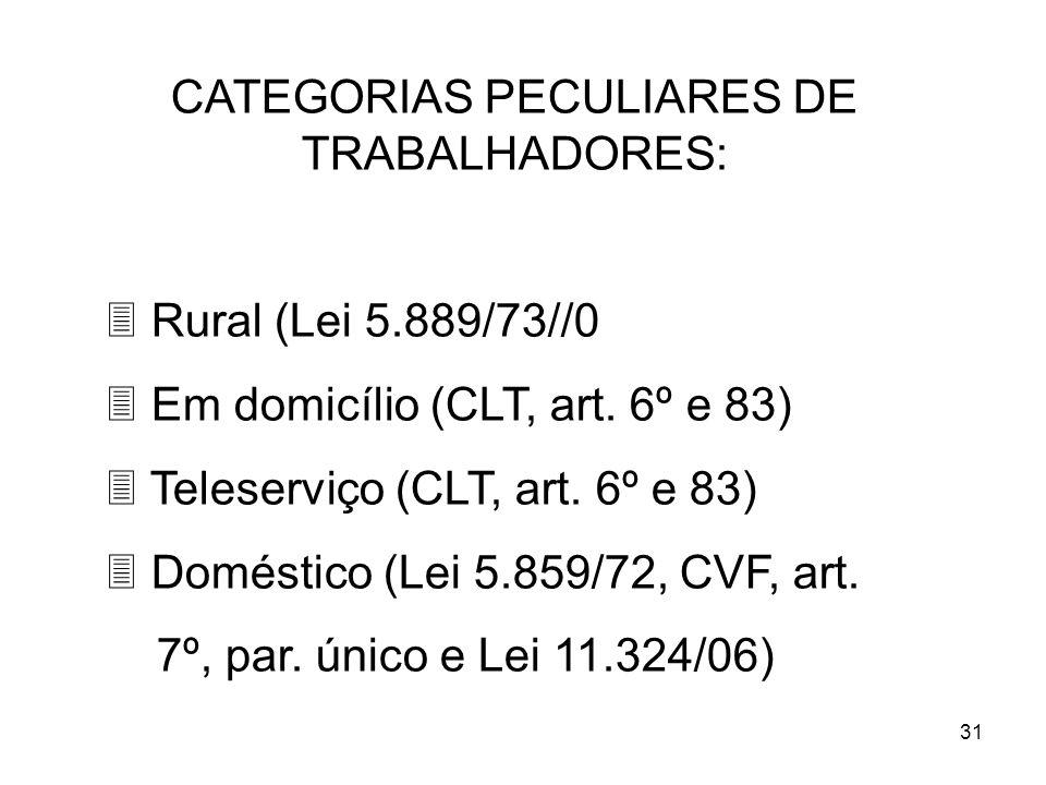 31 CATEGORIAS PECULIARES DE TRABALHADORES: 3 Rural (Lei 5.889/73//0 3 Em domicílio (CLT, art. 6º e 83) 3 Teleserviço (CLT, art. 6º e 83) 3 Doméstico (