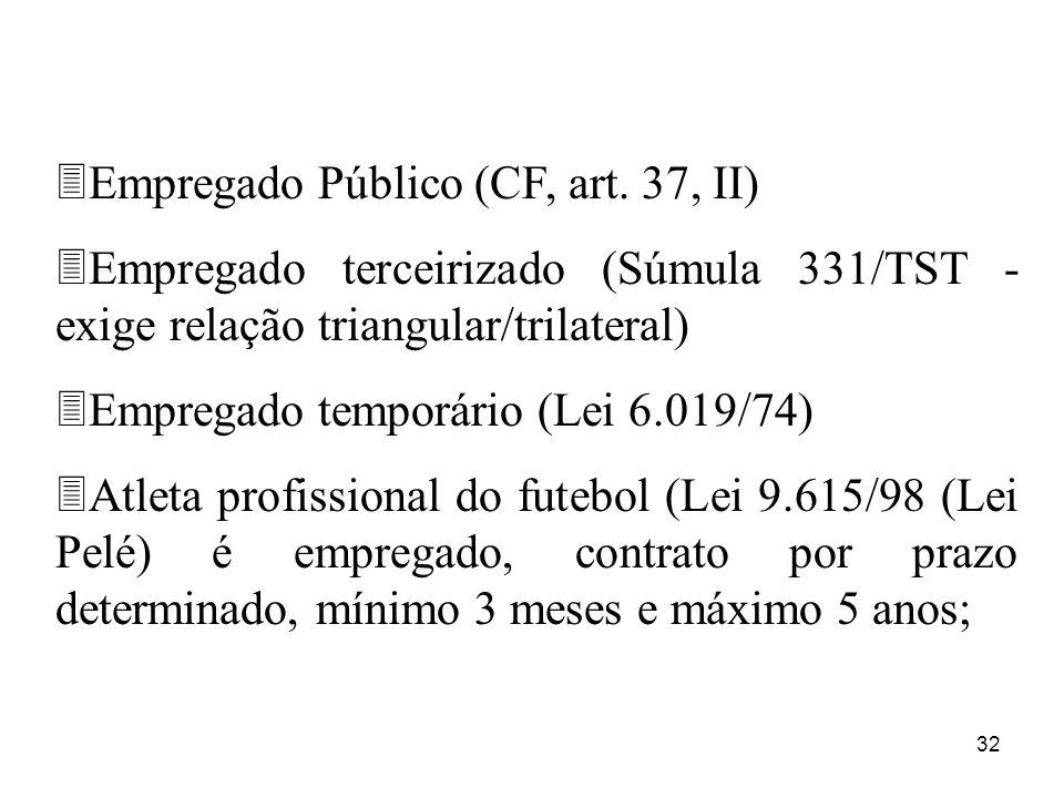 32 3Empregado Público (CF, art. 37, II) 3Empregado terceirizado (Súmula 331/TST - exige relação triangular/trilateral) 3Empregado temporário (Lei 6.01
