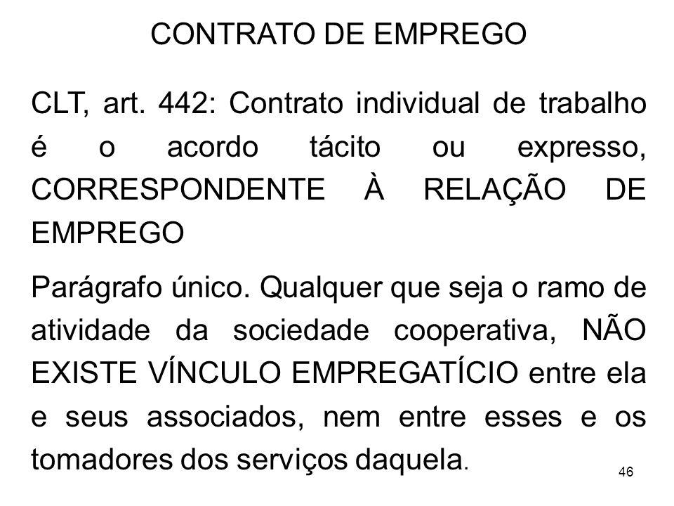 46 CONTRATO DE EMPREGO CLT, art. 442: Contrato individual de trabalho é o acordo tácito ou expresso, CORRESPONDENTE À RELAÇÃO DE EMPREGO Parágrafo úni