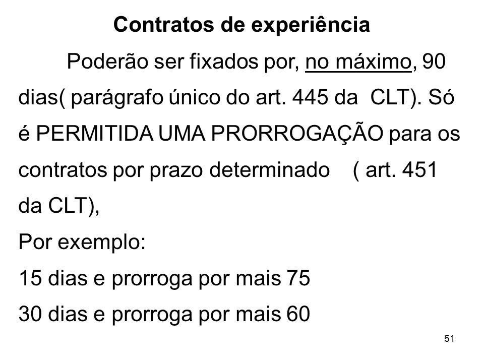 51 Contratos de experiência Poderão ser fixados por, no máximo, 90 dias( parágrafo único do art. 445 da CLT). Só é PERMITIDA UMA PRORROGAÇÃO para os c