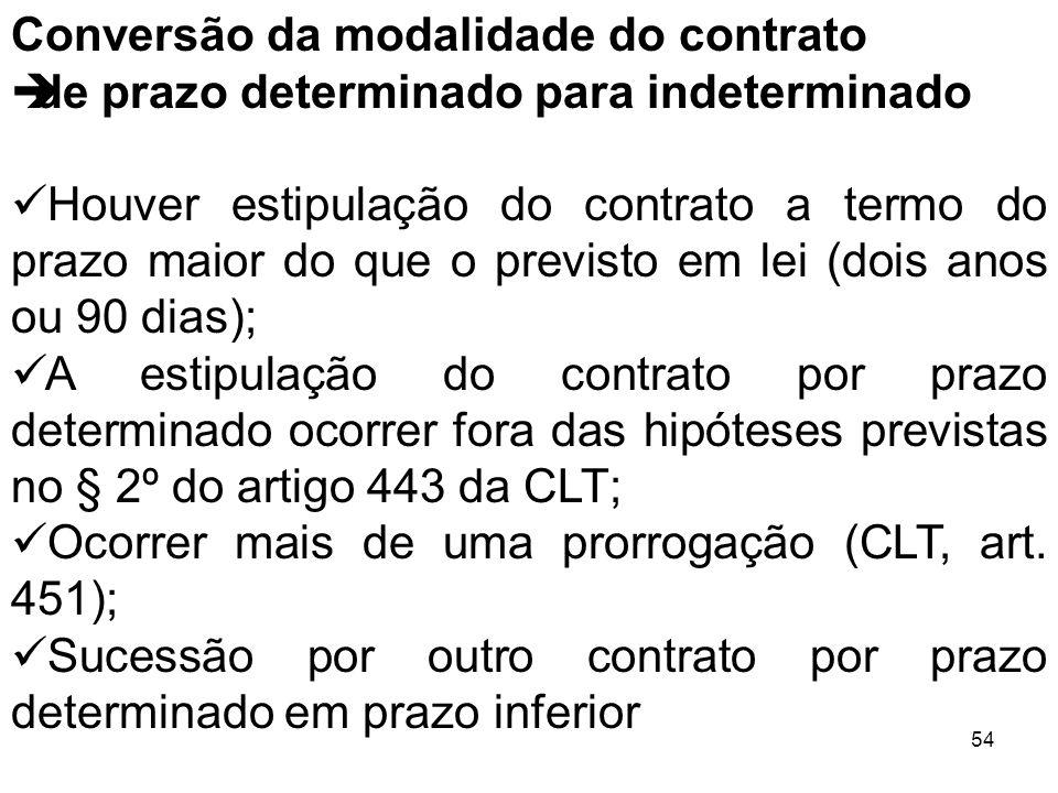 54 Conversão da modalidade do contrato de prazo determinado para indeterminado Houver estipulação do contrato a termo do prazo maior do que o previsto