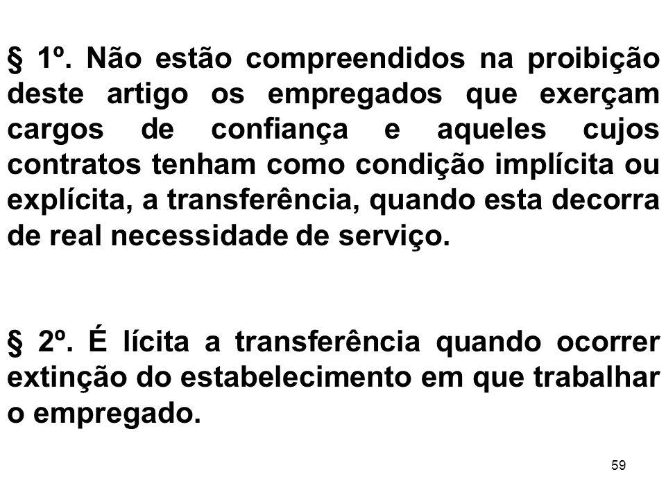 59 § 1º. Não estão compreendidos na proibição deste artigo os empregados que exerçam cargos de confiança e aqueles cujos contratos tenham como condiçã