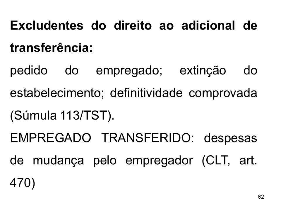 62 Excludentes do direito ao adicional de transferência: pedido do empregado; extinção do estabelecimento; definitividade comprovada (Súmula 113/TST).